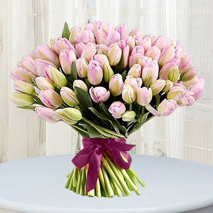 Grand Pink Tulips Bouquet: Exotic Flowers