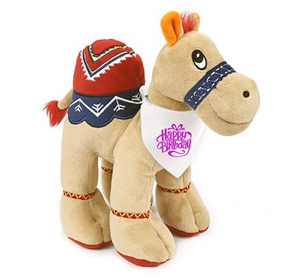 Soft Beige Toy Camel With Birthday Bandana: