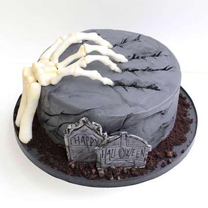Skeleton Claw in Graveyard Cake: Halloween Cakes
