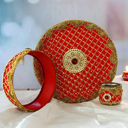 Designer Puppet Karwa Pooja Thali Set: Pooja Thali