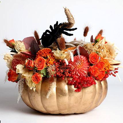 Halloween Golden Pumpkin Floral Arrangement: Halloween Flowers