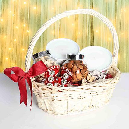 Cane Handle Basket Diwali Hamper: Diwali Gift Ideas