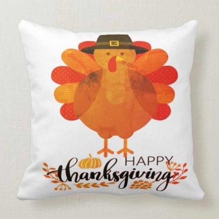 Happy Thanksgiving White Cushion: Thanksgiving Gifts