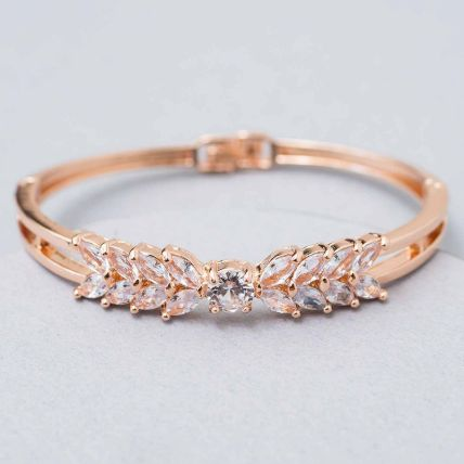 Rose Gold White Enamel Bracelet: Artificial Jewellery