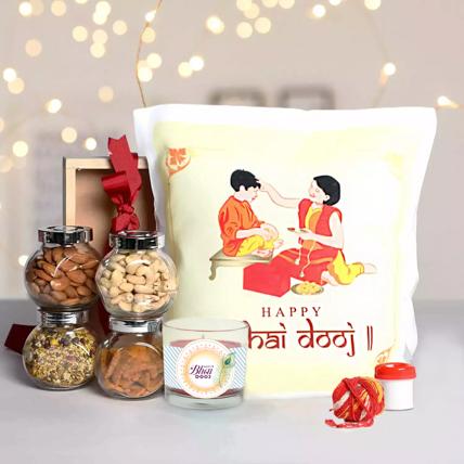 Bhaidooj Gift Hamper with Printed Cushion: Bhai Dooj Gifts