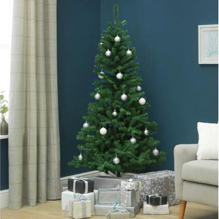 Artificial Xmas Tree with Silver Ornaments 180cm: Christmas Tree