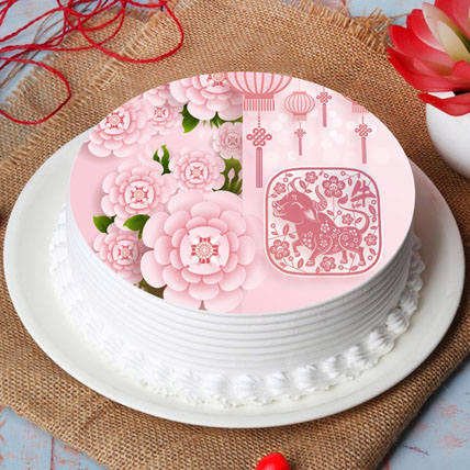 New Year Wishes With Blossoms Cake: