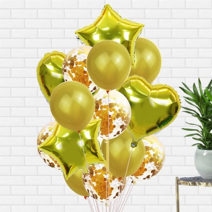 Golden Latex and Foil balloons: Helium Balloons Dubai