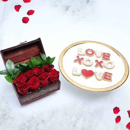 Cookies and Treasured Rose Box: Valentines Day Gifts