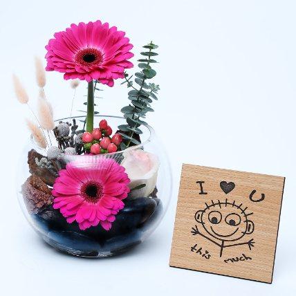 Gerberas Dish Garden N Table Top: Wedding Anniversary Flowers