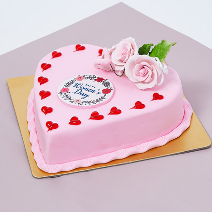 Womens Day Heart Shape Cake 500gm: Gifts for Womens Day