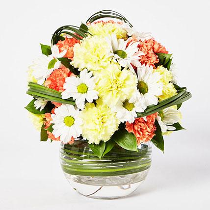 Blissful Mixed Flowers Bowl Arrangement: Carnation Flower