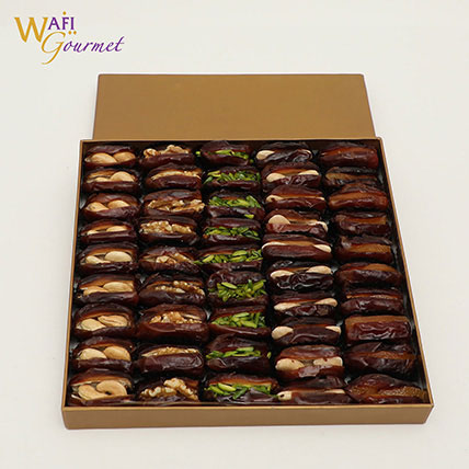 Box of Assorted Khudri Dates with Dry Nuts Fillings Gift by Wafi Gourmet 865g: Dates