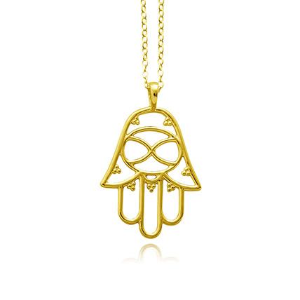Gold Plated Brass Divine Hamsa Necklace: Jewellery