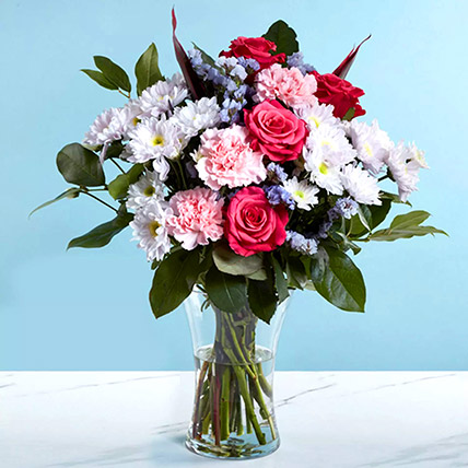 Pink and White Flower Vase: Thank You Flowers