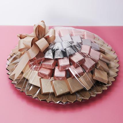 Pink and Golden Chocolate Tray: Raksha Bandhan Chocolates