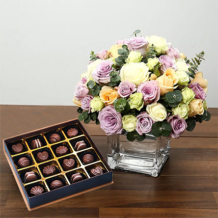 Purple and White Roses Array With Belgian Chocolates: One Hour Delivery Chocolates