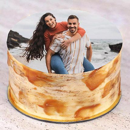 caramel Anniversary Photo Cake 500gm: Anniversary Cake with Photo & Name