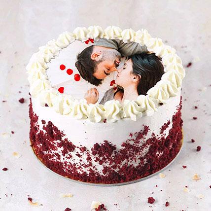 Velvety Photo Cake For Anniversary: Photo Cakes
