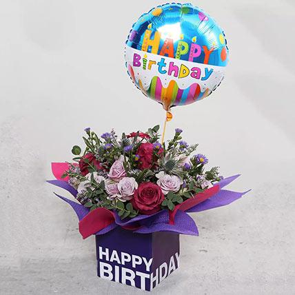 Birthday Flower Arrangement with Balloon: