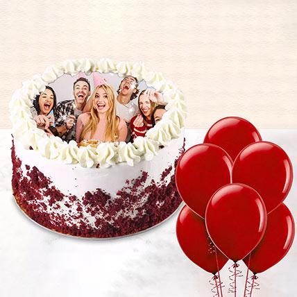 1 kg Red Velvet Photo Cake With Balloons: