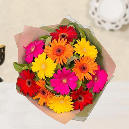 Striking Multicoloured Gerberas Bouquet: Gerberas Bouquet