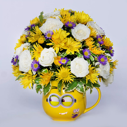 Blissful Mixed Flowers In Smiley Glass Vase: Fathers Day Gifts