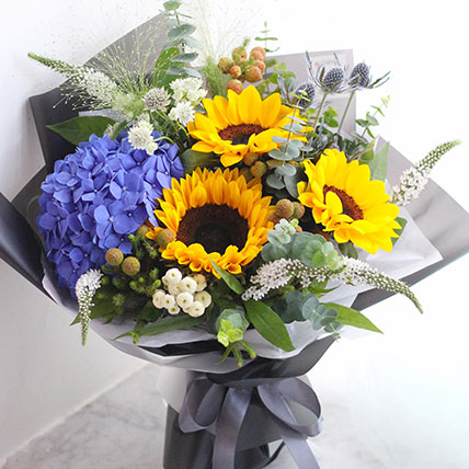 Blooming Mixed Flowers Beautifully Wrapped Bouquet:  Sunflower Bouquets
