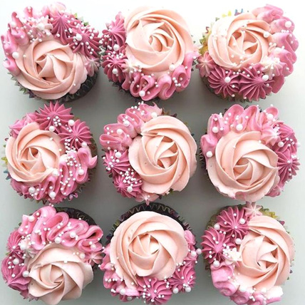 Rosy Delight Designer Vanilla Cupcakes Set Of 6: Gifts for Wife