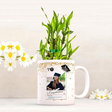 Personalised Graduation Mug with Lucky Bamboo: Graduation Gifts