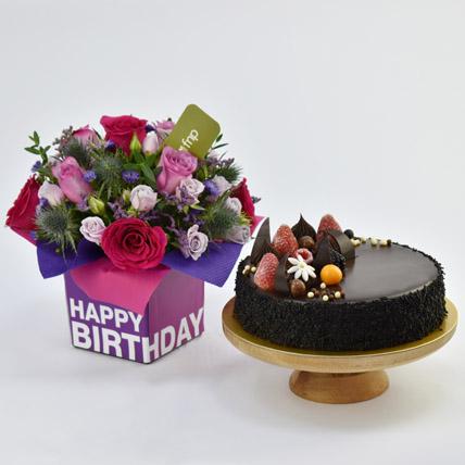 1 Kg Chocolate Cake With Birthday Flower Arrangement: Birthday Flowers & Cakes