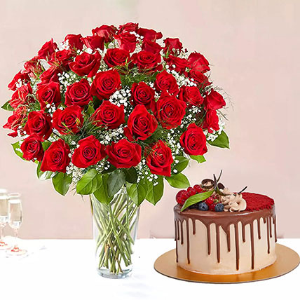 1 Kg Chocolaty Red Velvet Cake With 50 Roses Arrangement: Just Because Gifts