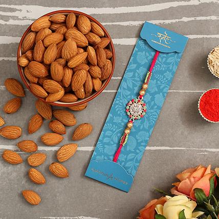 American Diamond Floral Rakhi And Healthy Almonds: Rakhi With Dryfruits