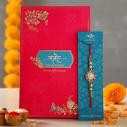 American Diamond Flower Designer Rakhi: American Diamond Rakhi