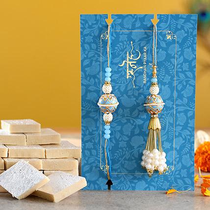 Blue Orb Pearl And Lumba Rakhi Set With Kaju Katli: Pearl Rakhi