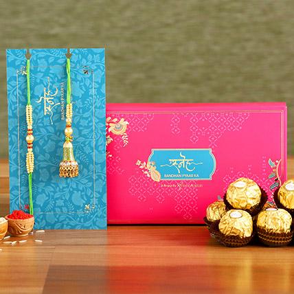 Ethnic Green Pearl And Lumba Rakhi Set With 3 Pcs Ferrero Rocher: Ethnic Rakhi