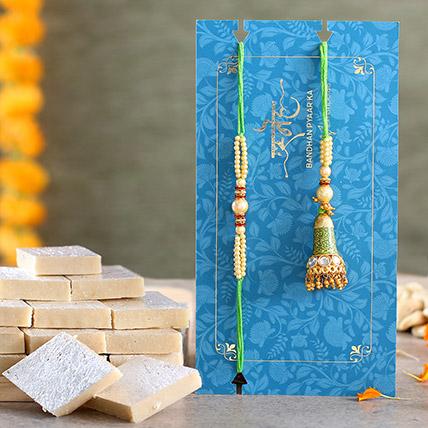 Ethnic Green Pearl And Lumba Rakhi Set With Kaju Katli: Pearl Rakhi