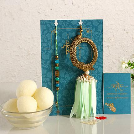 Feather Designer Lumba Rakhi Set & Gulab Jamun: Fancy Rakhi