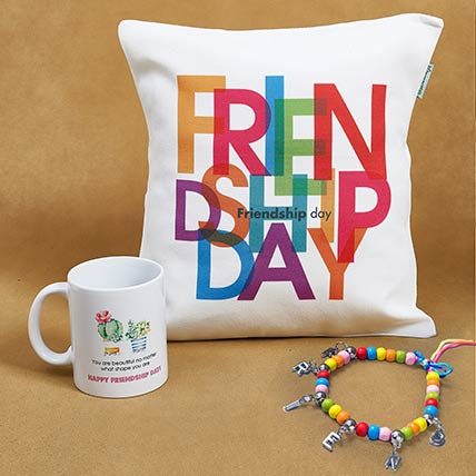 Friendship Day Band with Cushion n Mug: Friendship Bands
