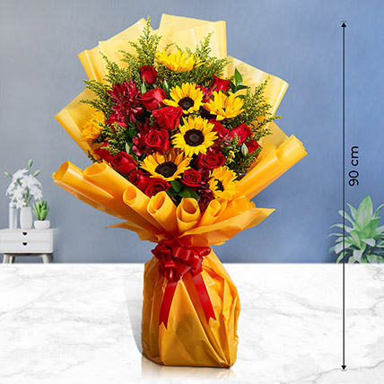 Grand Bouquet of Roses n Sunflowers: I Am Sorry Flowers