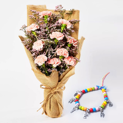 Pink Carnations Bouquet with Friendship Band: Flowers for Friendship Day