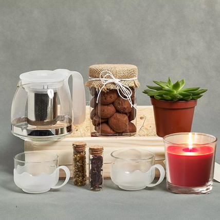 Tea n Cookies Gift Tray: Tea and Coffee Hampers