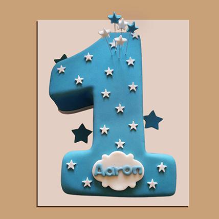 Number 1 Starry Fondant Cake: Alphabet N Number Cakes