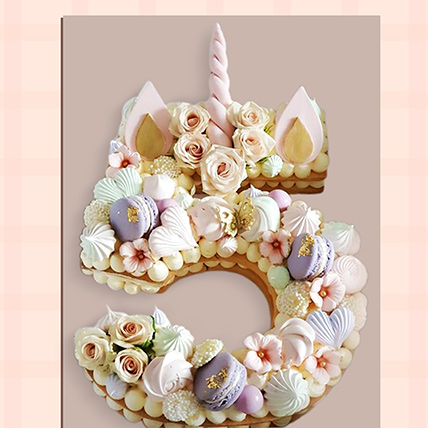 Number 5 Macarons Artificial Flowers Cake: Alphabet N Number Cakes
