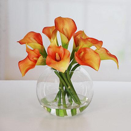 Premium Orange Calla Lilies Fish Bowl: Calla Lilies Flower