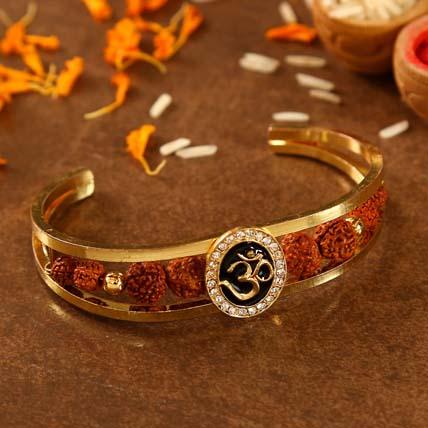 Om And Rudraksha Bracelet Style Rakhi: Rakhi Bracelet