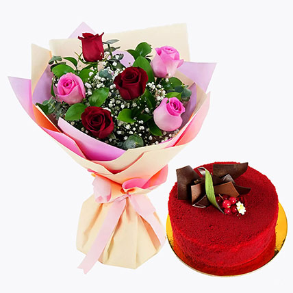 Pink and Red Roses with Red Velvet Cake: Flowers and Cake