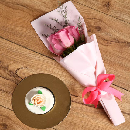 Pink Roses Bouquet & Mono Cake Combo: Birthday Flowers & Cakes