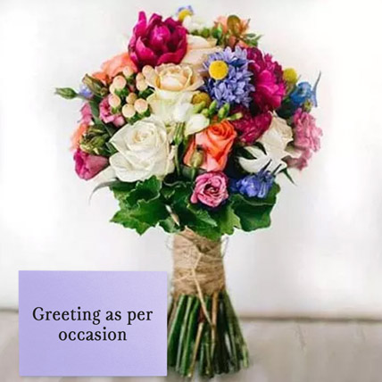 Mixed Roses Bouquet With Greeting Card: Flowers With Greeting Cards