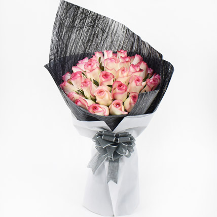 35 Dual Shade Pink Roses Bouquet: Flowers Offers